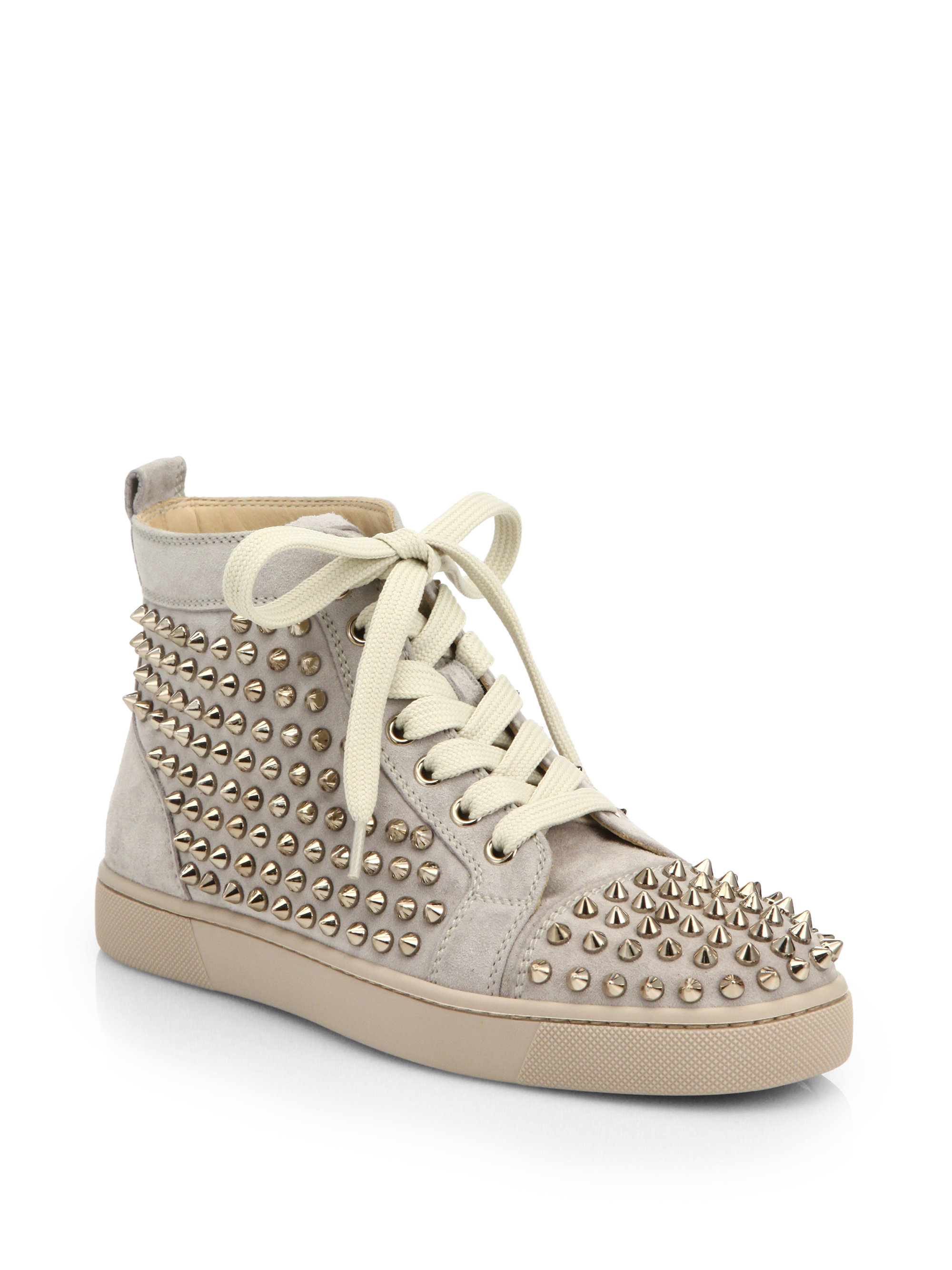 9b88a1ada22 Christian louboutin Louis Woman Studded Suede High-top Sneakers in Natural  for Men