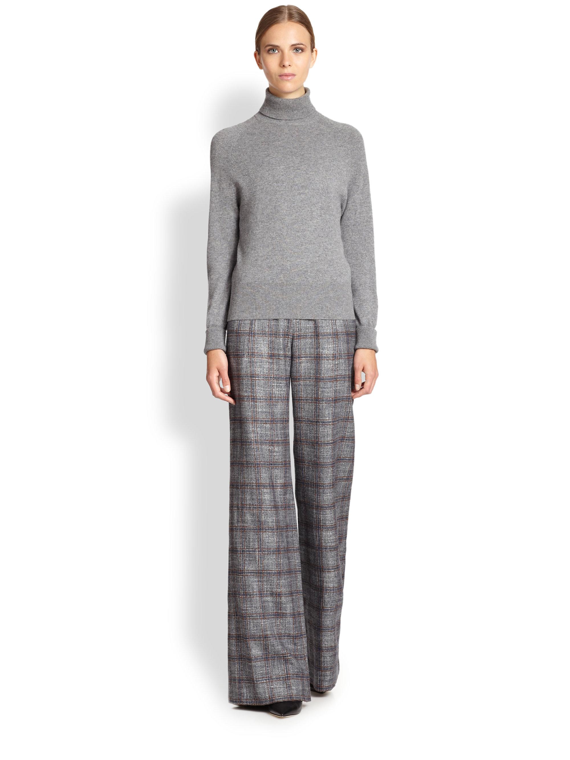 Carolina herrera Plaid Slim-Leg Pants in Gray | Lyst