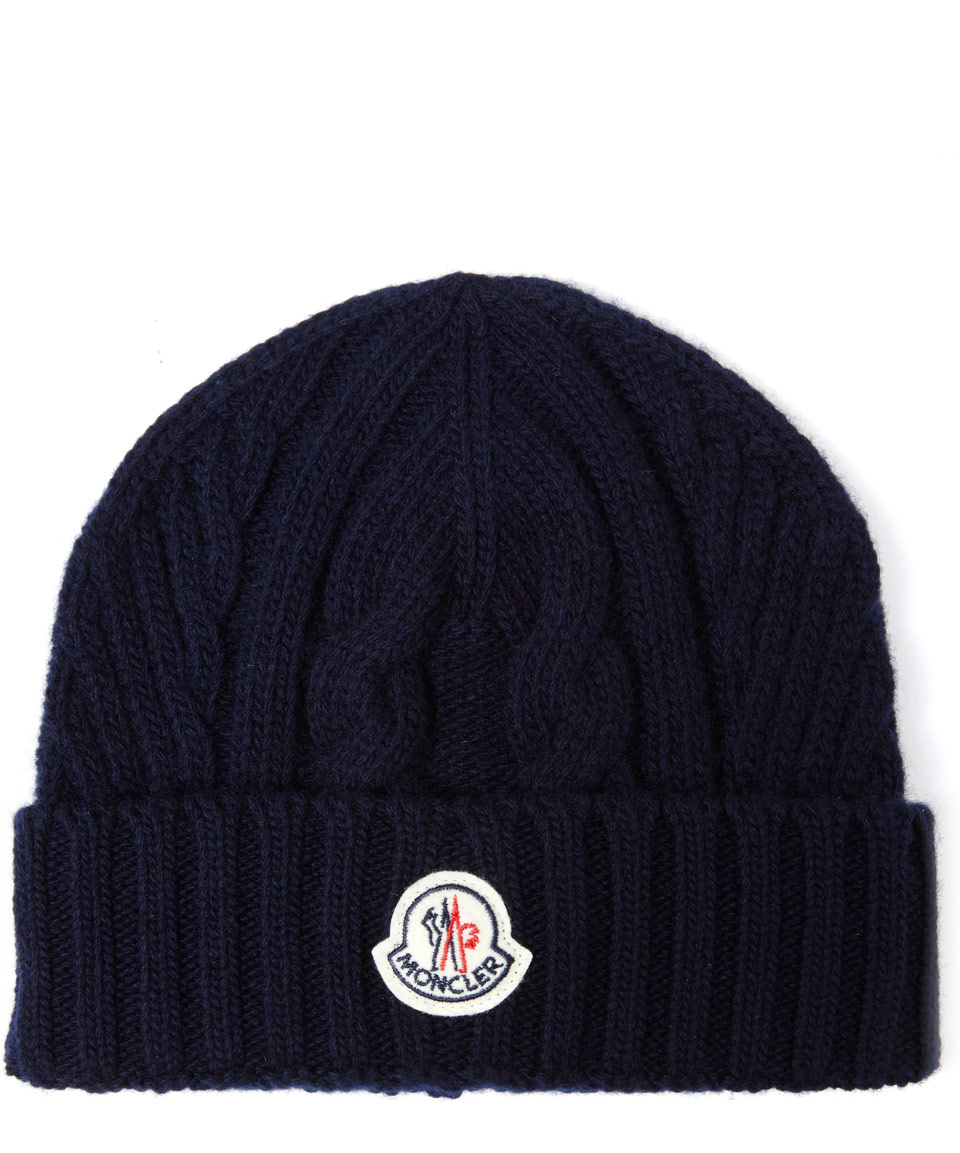 89d3d4a6020 Lyst - Moncler Navy Cable Knit Beanie in Blue for Men