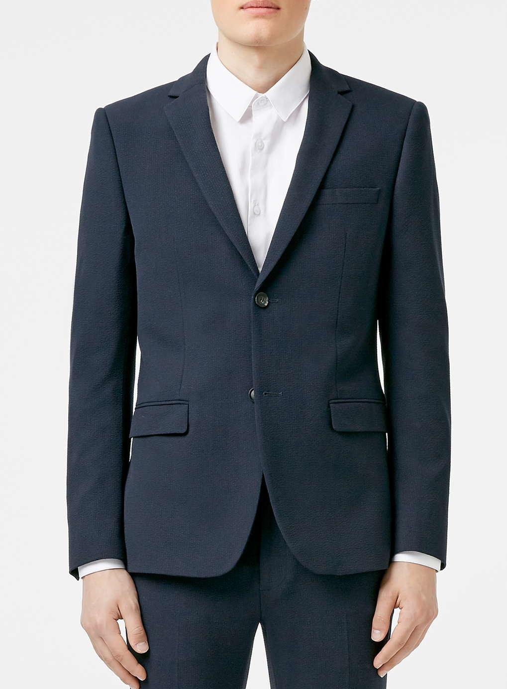 Topman Navy Seersucker Texture Skinny Fit Suit Jacket in ...