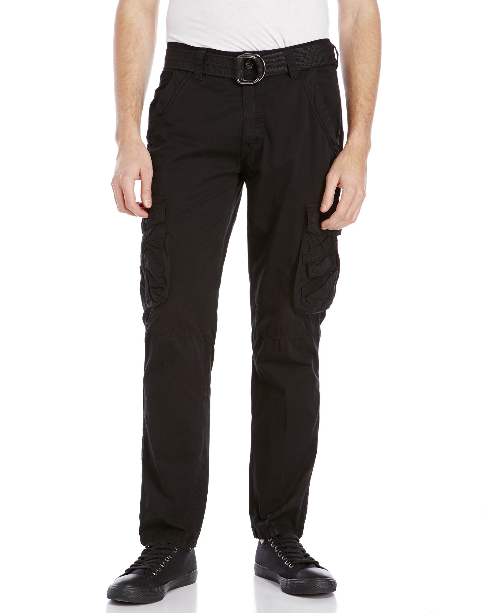 Xray jeans Belted Slim Straight Cargo Pants in Black for Men | Lyst