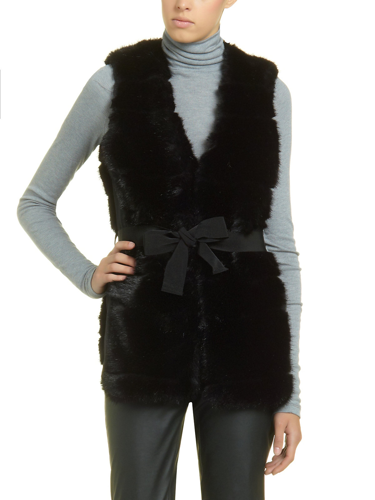 patrizia pepe faux fur gilet with horizontal detailing in black nero lyst. Black Bedroom Furniture Sets. Home Design Ideas