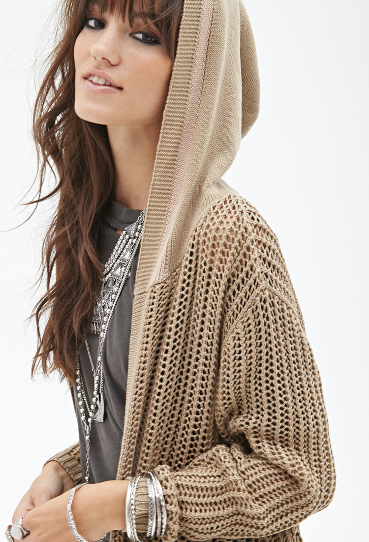 Forever 21 Hooded Open-knit Cardigan in Brown | Lyst