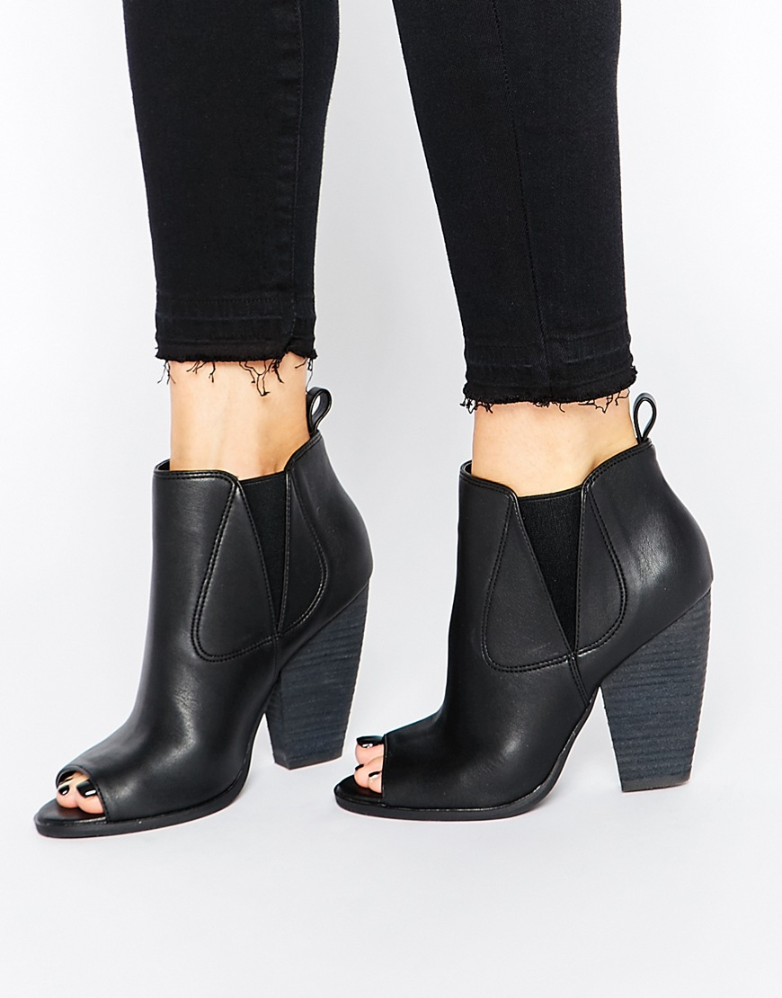 London rebel Peeptoe Heeled Ankle Boots in Black | Lyst