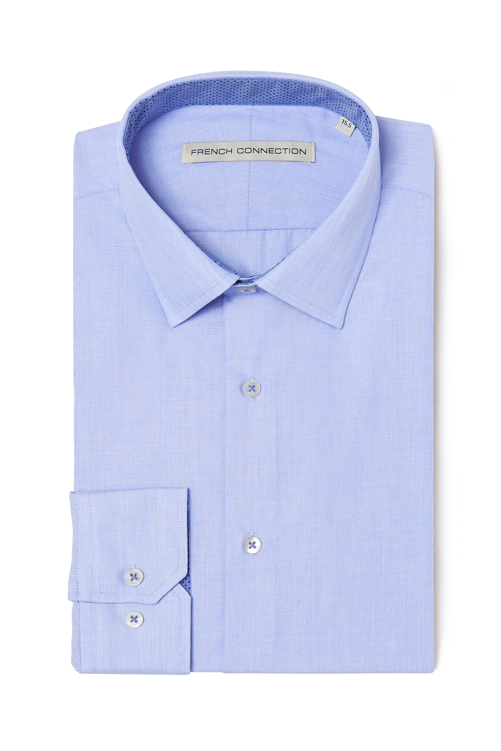 French connection tailored fit single cuff contrast blue for Single cuff dress shirt