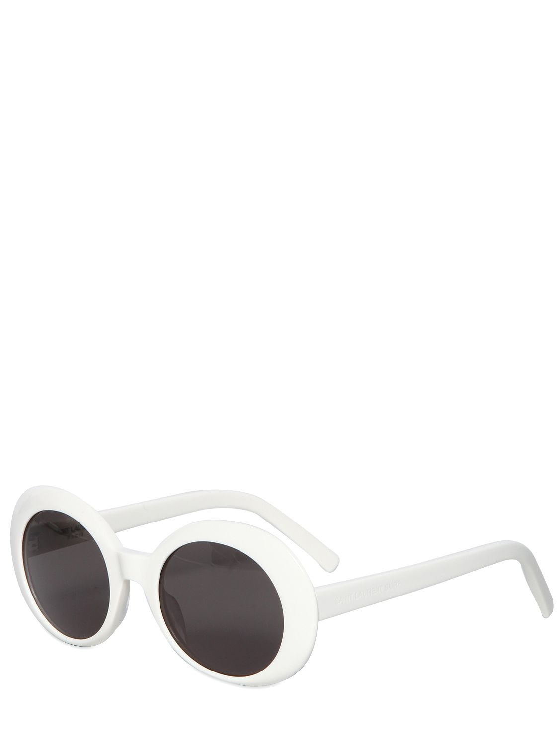 935fe3f1763 Lyst - Saint Laurent Sl 98 Shiny Acetate Round Sunglasses in White ...