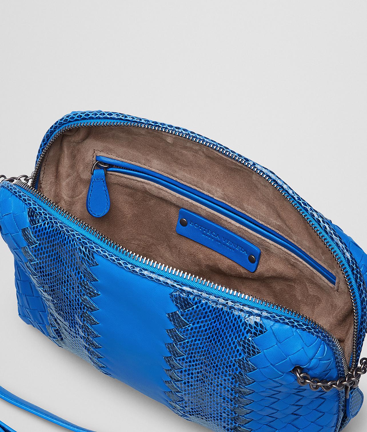 Lyst - Bottega Veneta Signal Blue Intrecciato Nappa Ayers Messenger ... bd302a6480089