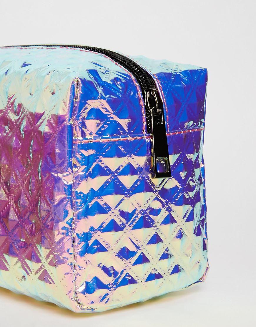 eb3efbf492 Lyst - ASOS Textured Hologram Make Up Bag in Metallic