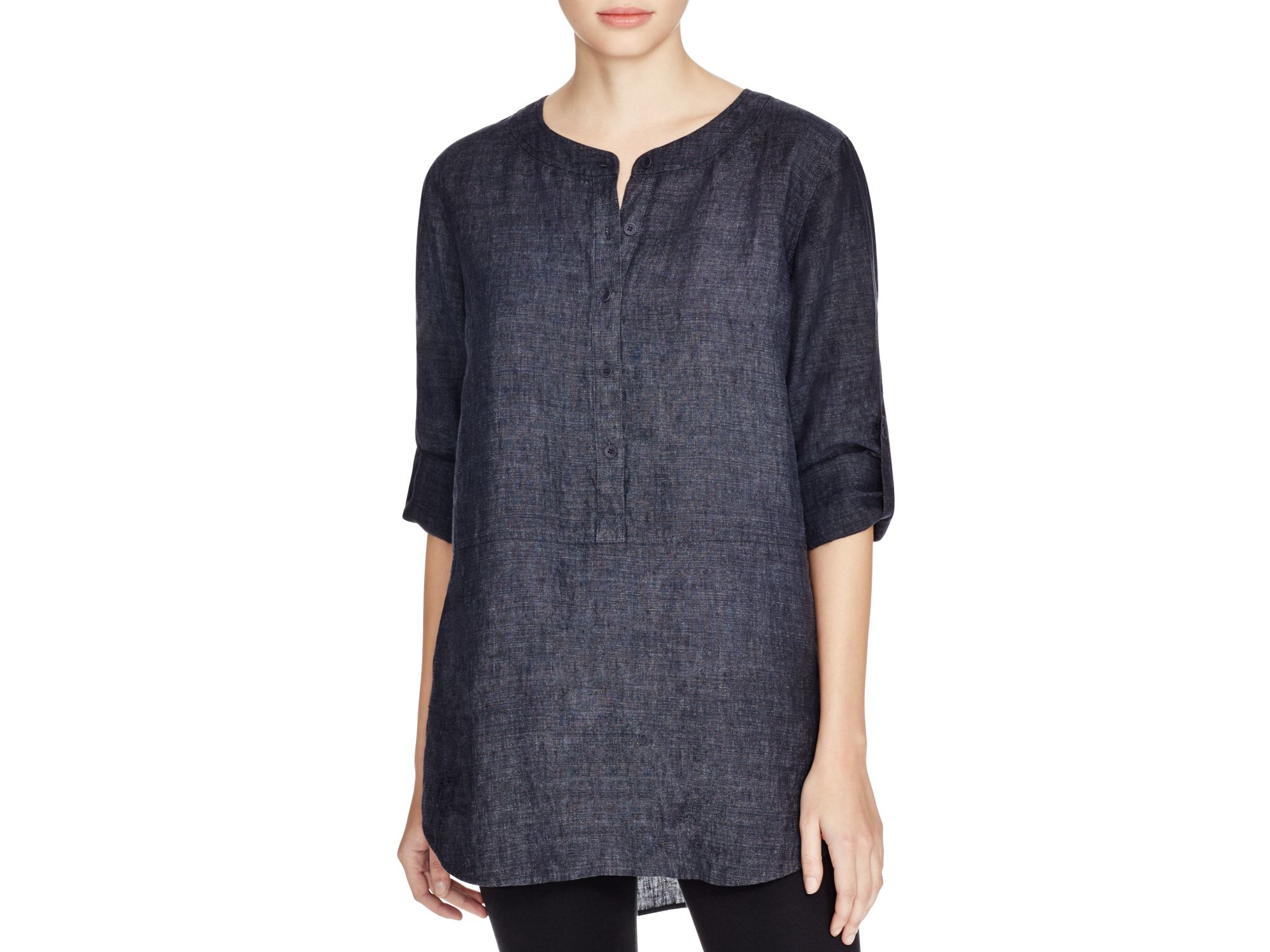 2e28484149 Lyst - Eileen Fisher Linen Button Down Tunic - Bloomingdale s ...