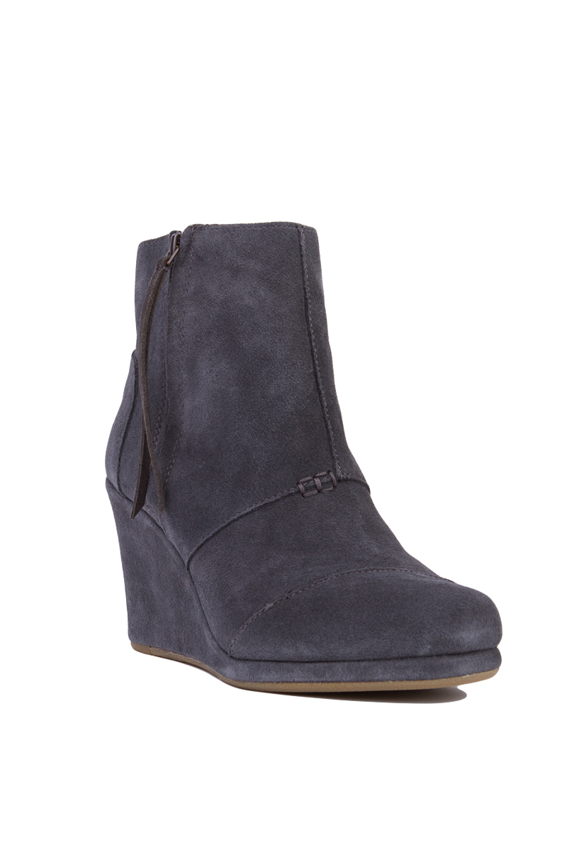toms s desert wedge high ankle boots in gray lyst