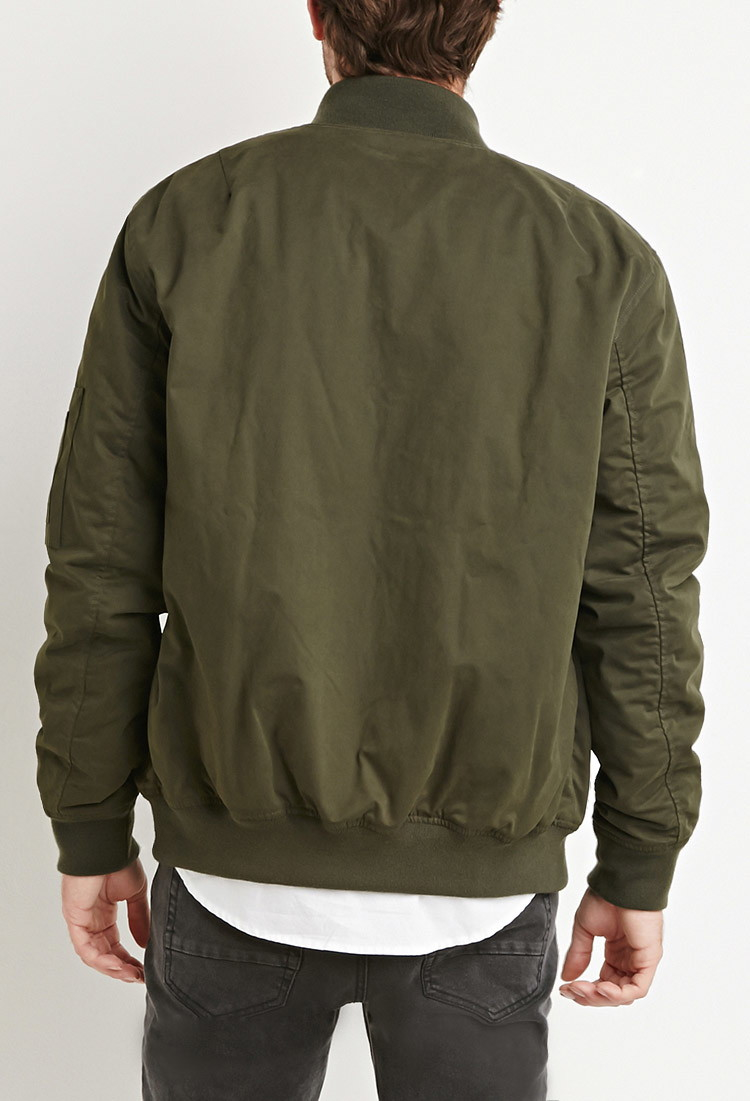 Forever 21 Padded Bomber Jacket In Green For Men Lyst