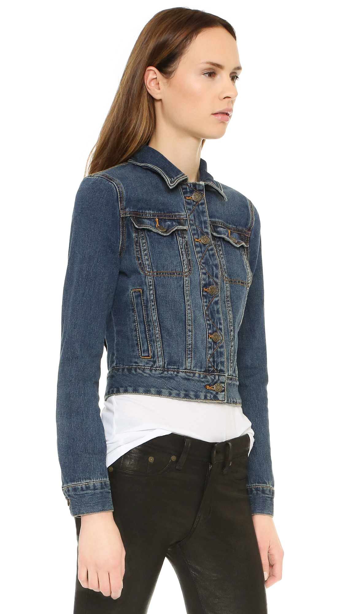 Free people Fitted Denim Jacket in Blue | Lyst