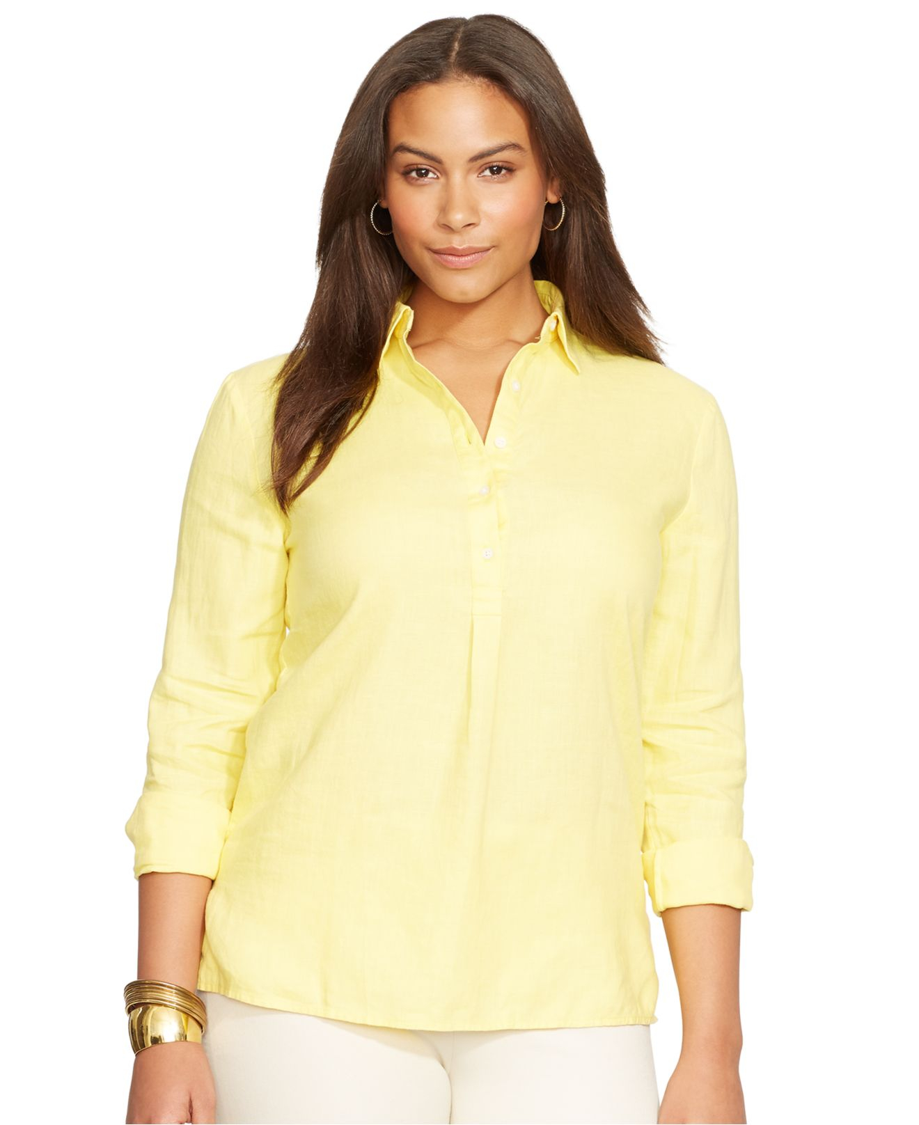 Lauren Ralph Lauren Väskor : Lyst lauren by ralph plus size linen shirt in yellow