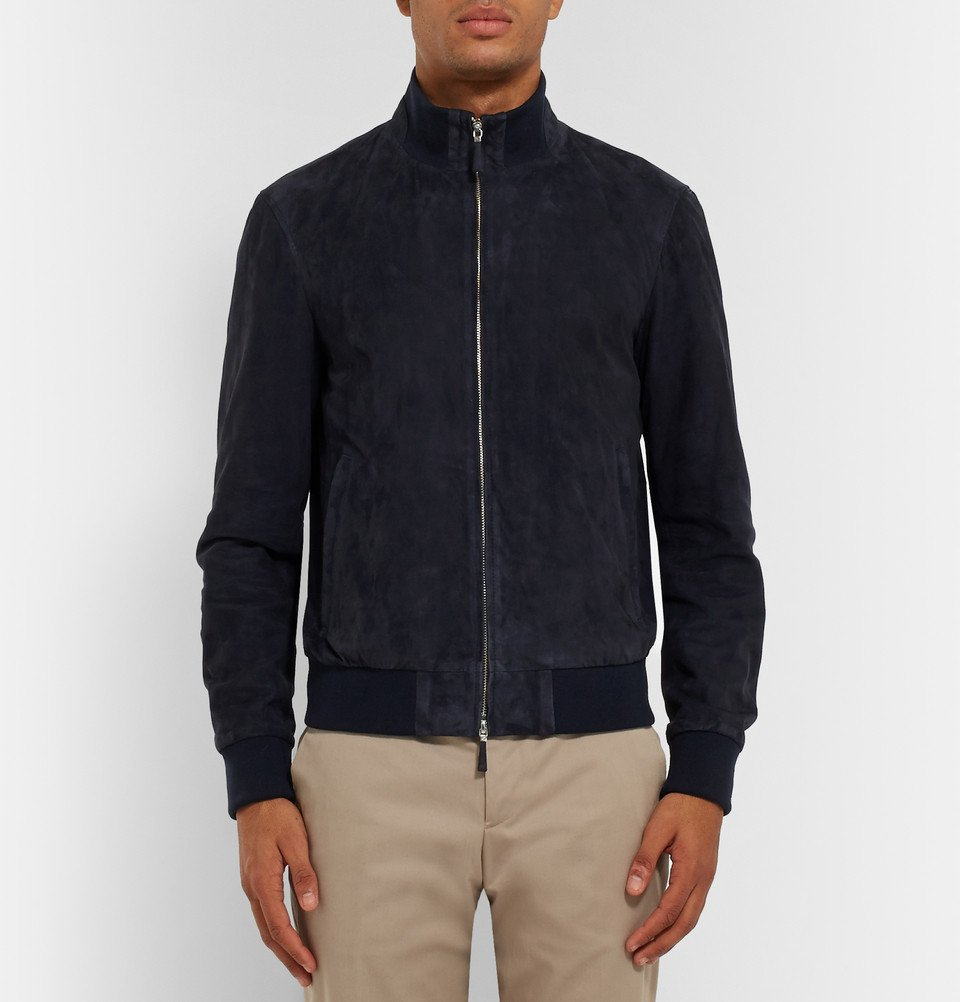 really cheap how to buy sneakers for cheap Hackett Blue Suede Bomber Jacket for men
