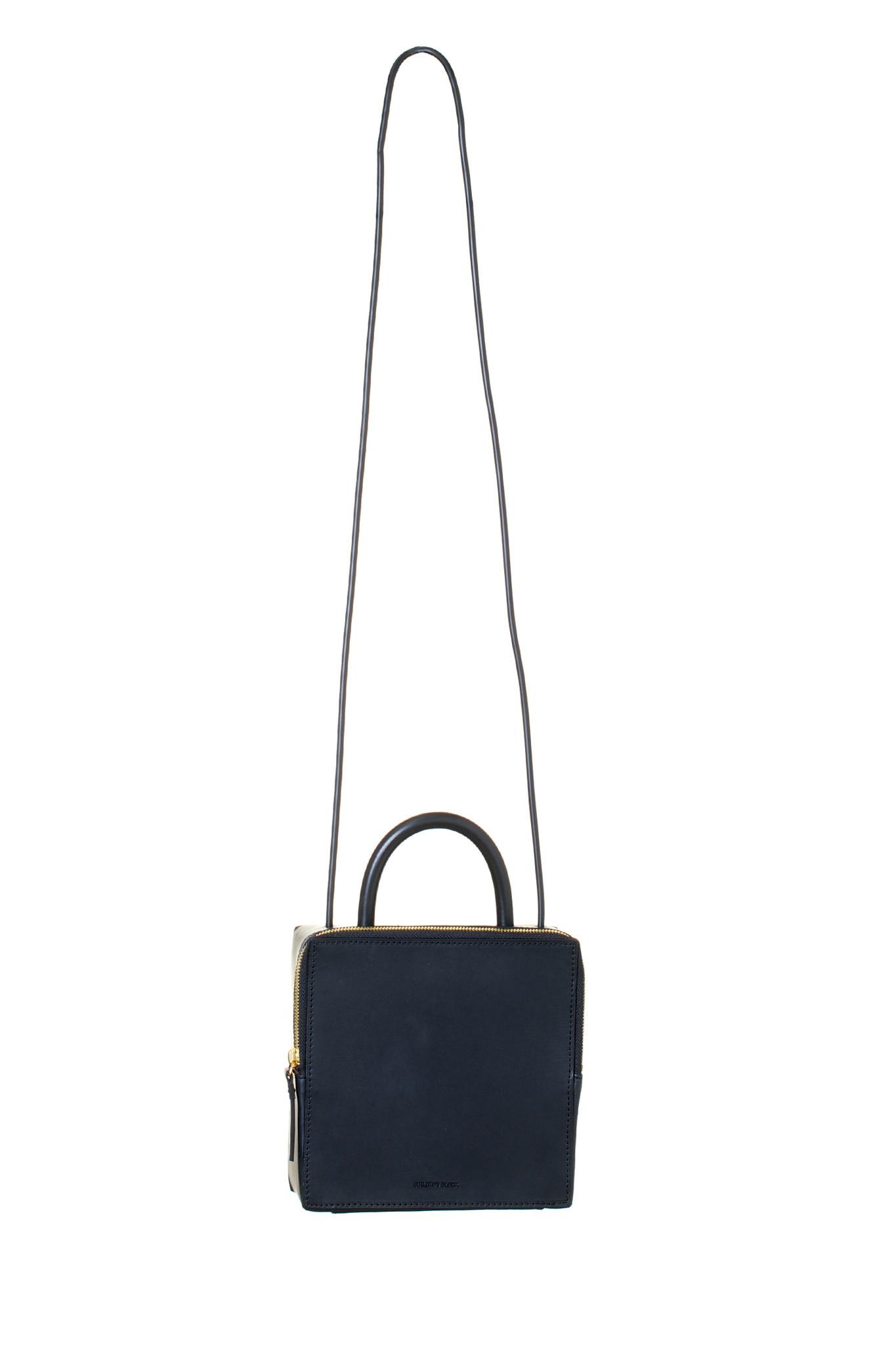 da90453d6d96 Building block Leather Box Bag - Black in Black