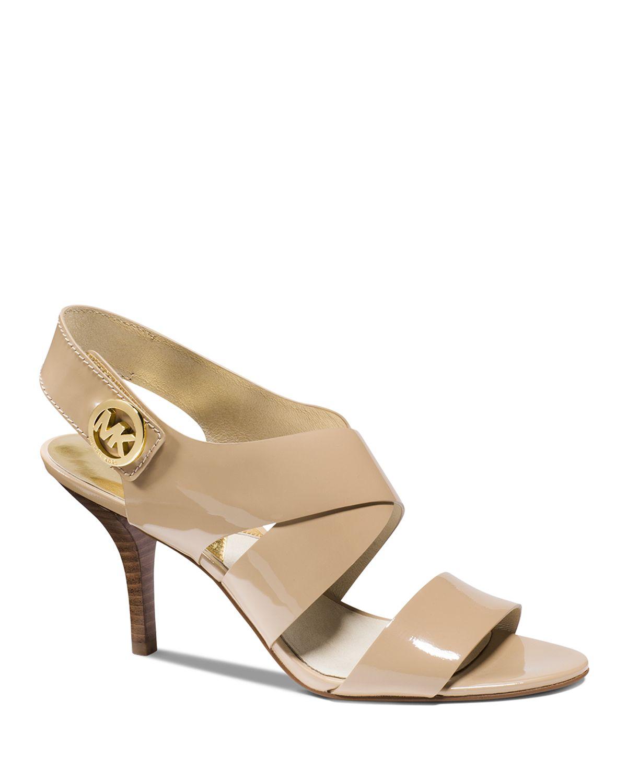 michael michael kors open toe sandals joselle logo high heel in natural lyst. Black Bedroom Furniture Sets. Home Design Ideas