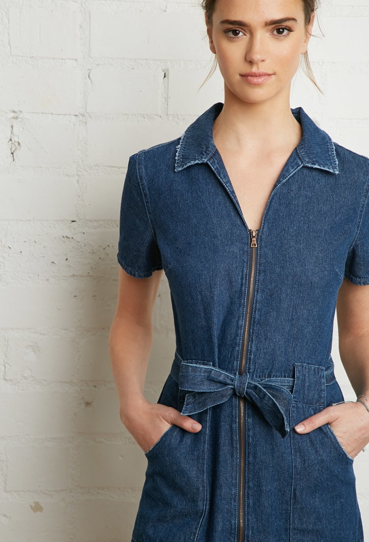 Lyst forever 21 zipper front denim shirt dress in blue for Zip up dress shirt