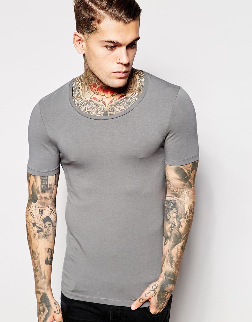 62868520 ASOS Extreme Muscle Fit T-shirt With Scoop Neck And Stretch in Gray ...