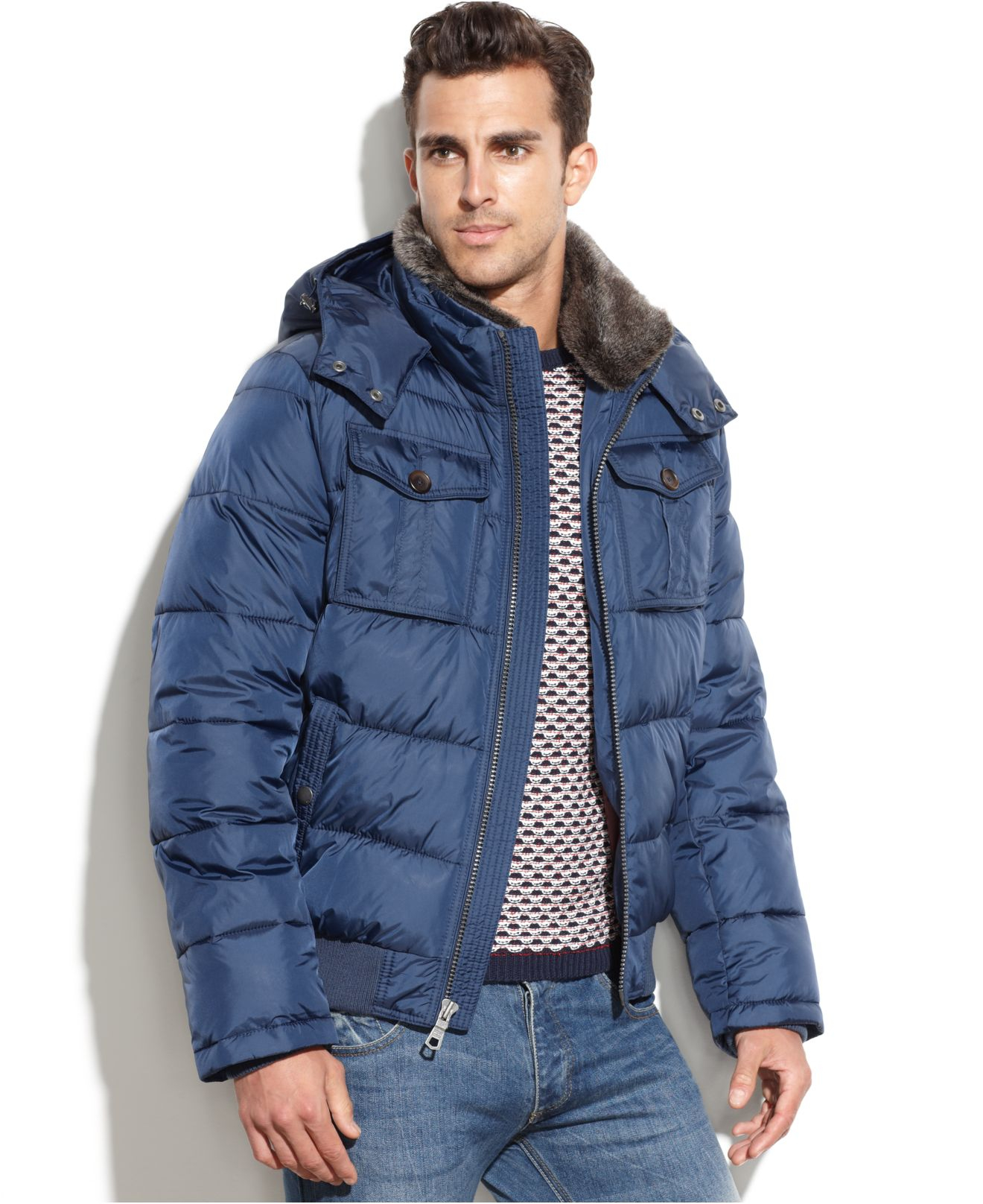 lyst tommy hilfiger puffer coat with faux fur collar in. Black Bedroom Furniture Sets. Home Design Ideas