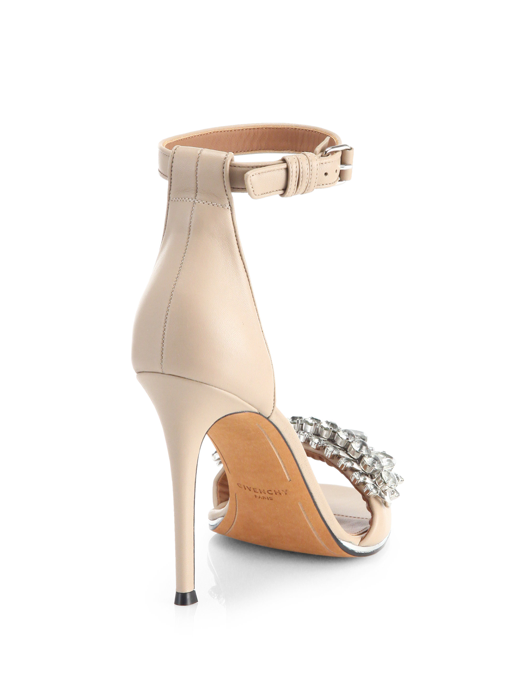 cfcae4716bc035 Lyst - Givenchy Jeweled Mona Sandals in Natural