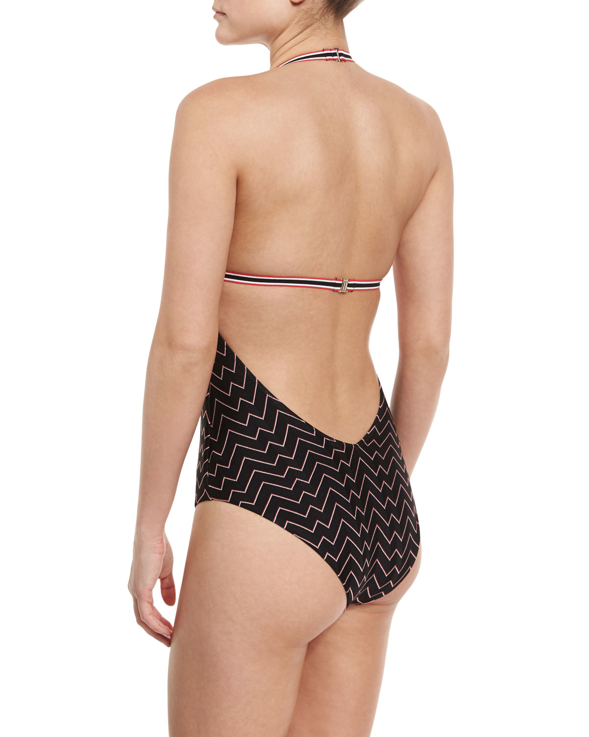 84b2877462f01 Lyst - Missoni Zigzag Low-back One-piece Swimsuit in Brown