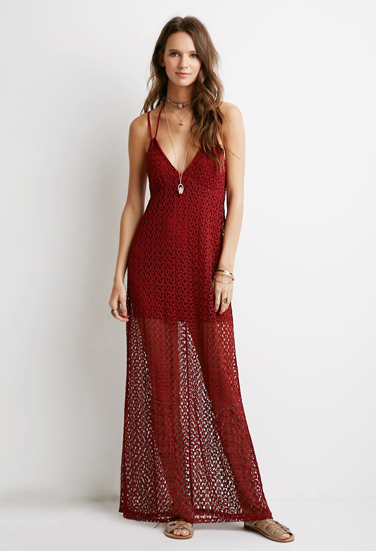 Crochet Maxi Dress : Forever 21 Crochet Halter Maxi Dress in Brown (Rust) Lyst
