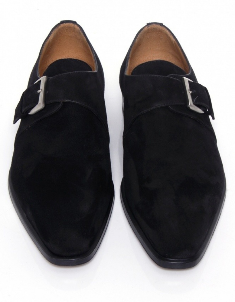 Lyst Stemar Cremona Suede Monk Strap Shoes In Black For Men