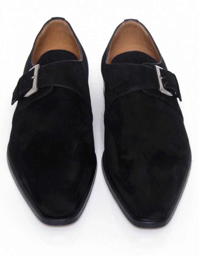 Mens Black Suede Monk Strap Shoes