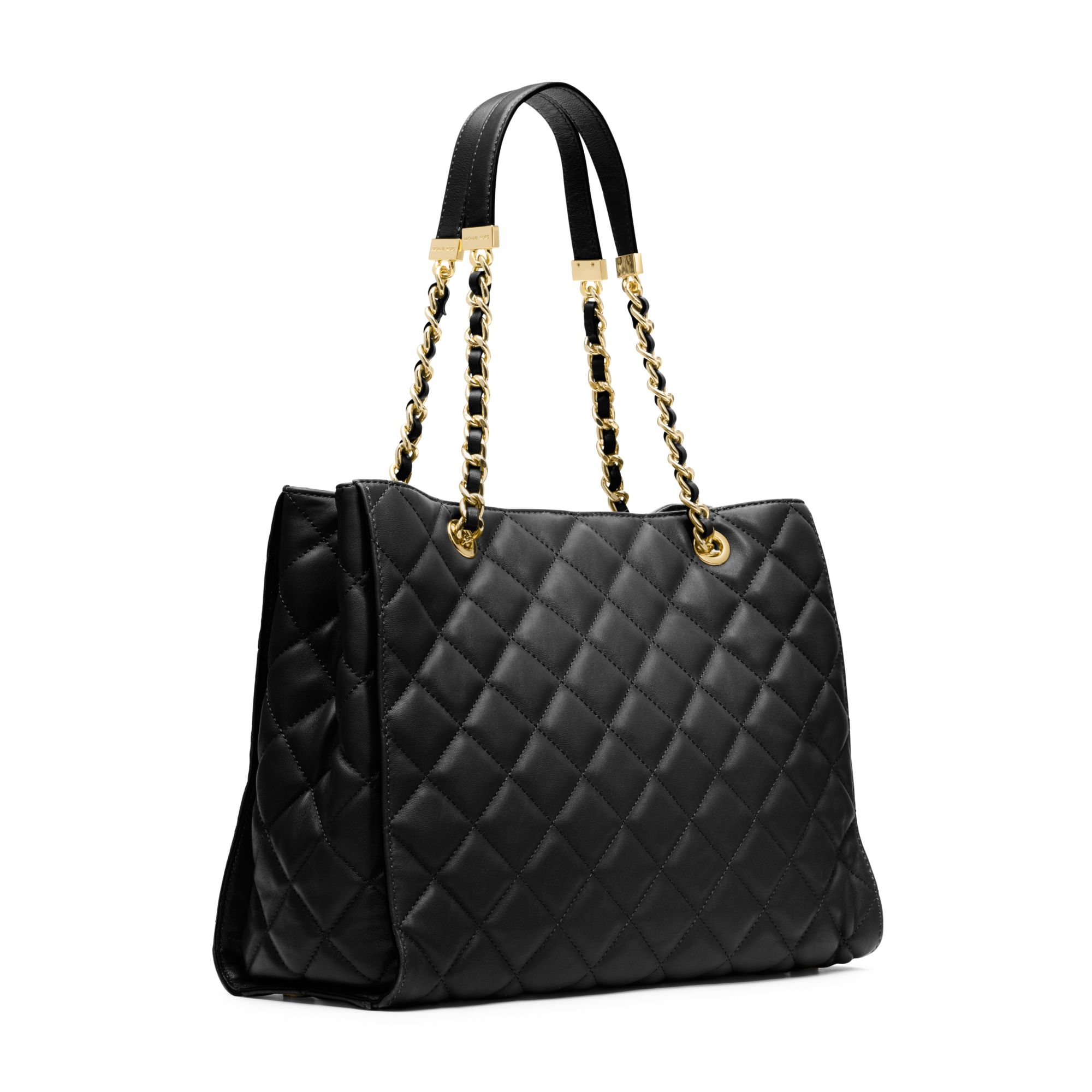 d5171a0d6501 Michael Kors Susannah Quilted Leather Large Tote in Black - Lyst