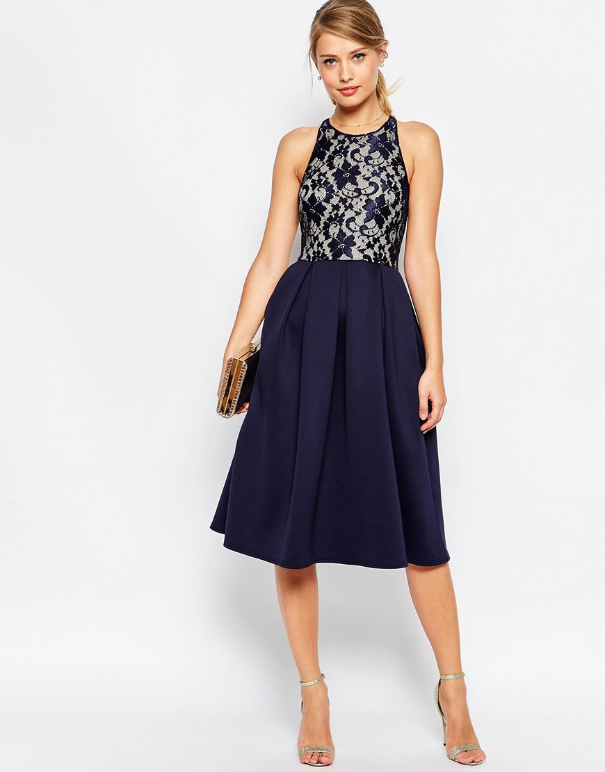 Lyst Asos Lace Top Skater Midi Dress In Blue