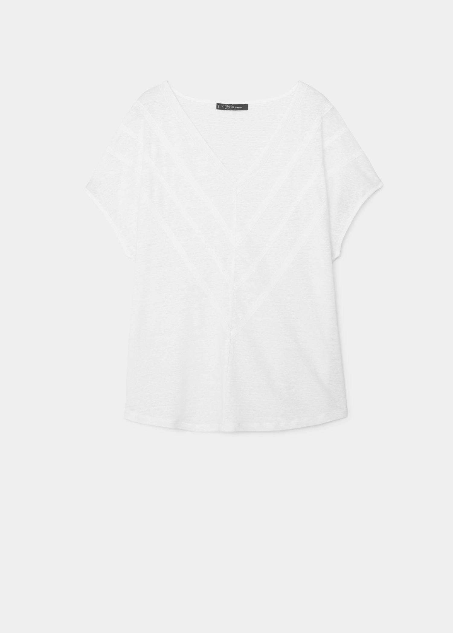 73449fb24439d Lyst - Violeta by Mango Trim Linen-blend T-shirt in White