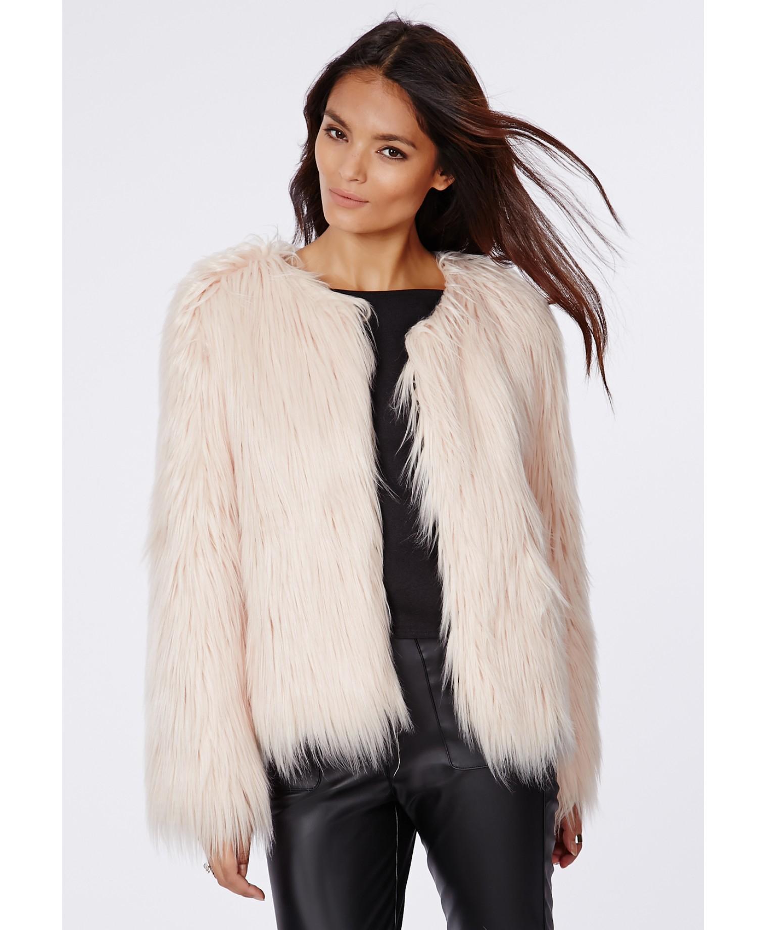 Carly Nude Faux Fur Coat