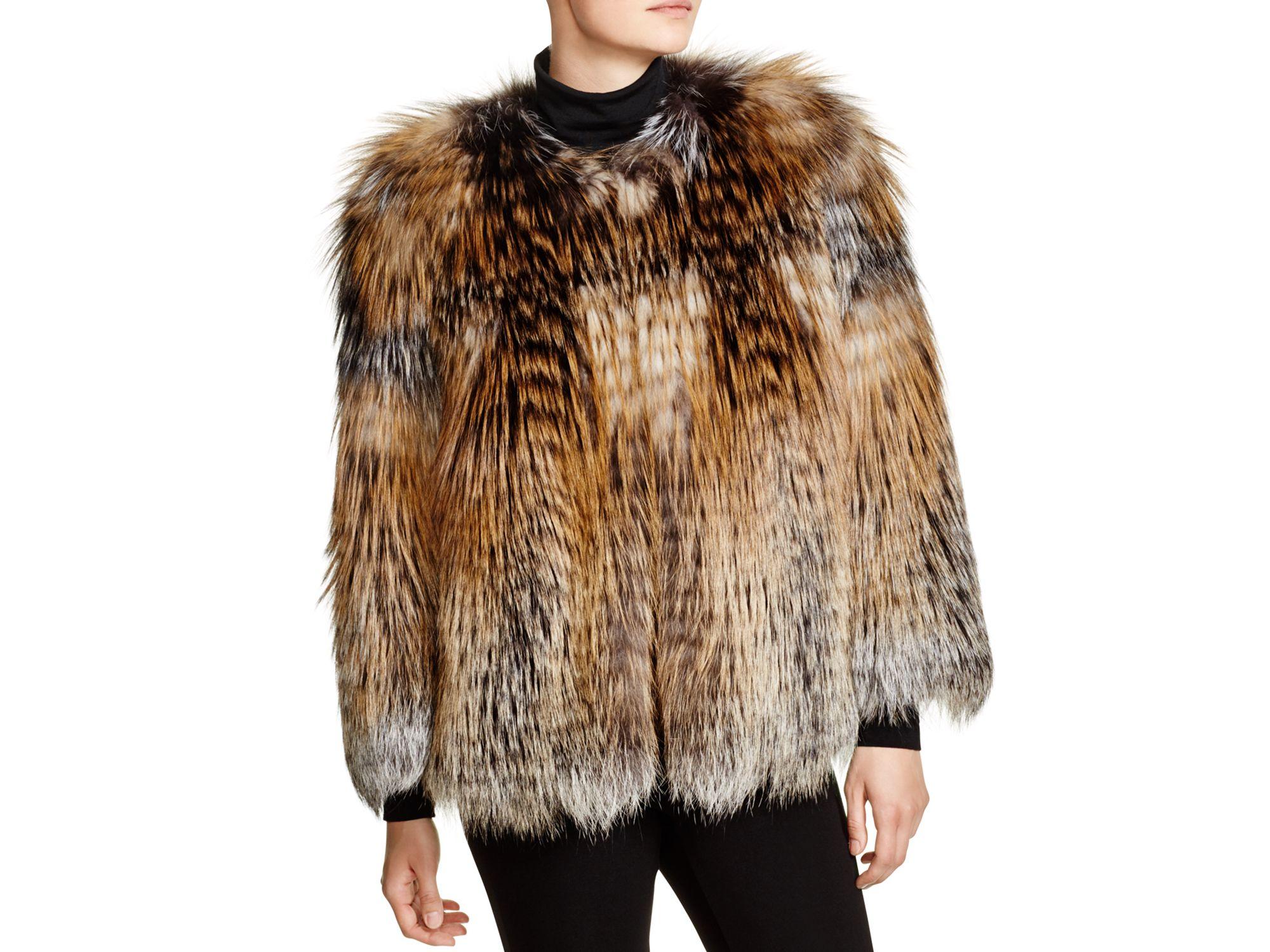 615ff15f61b Lyst - Maximilian Maximilian Feathered Fox Fur Coat in Brown
