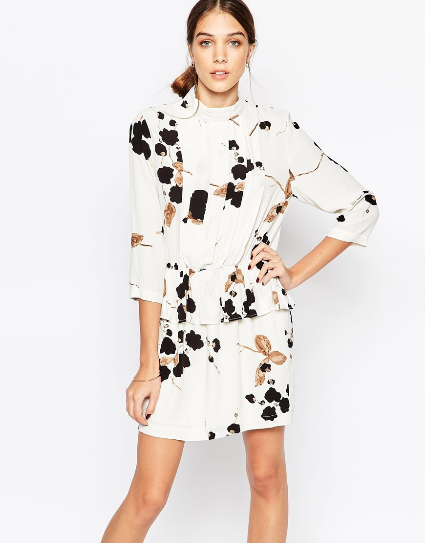 Lyst Ganni Crepe Peplum Dress In Floral Print In White