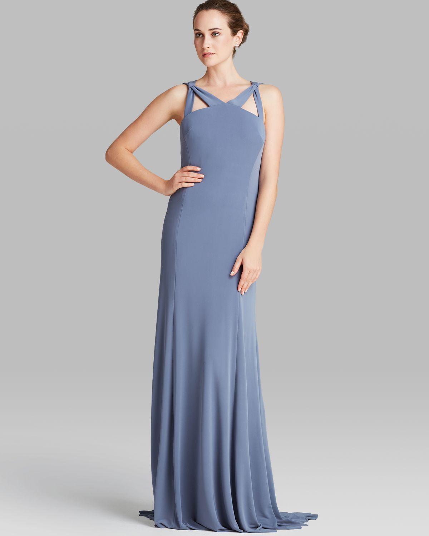 fe36ddfe638 Vera Wang Gown - Sleeveless Cutout Matte Jersey in Blue - Lyst