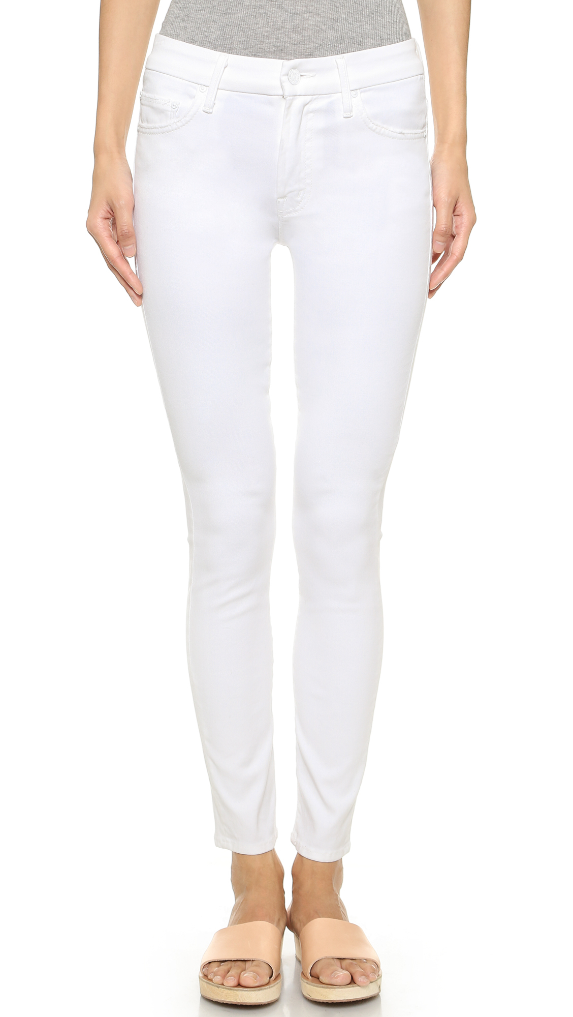 Mother High Waist Looker Skinny Jeans - Glass Slipper in White | Lyst