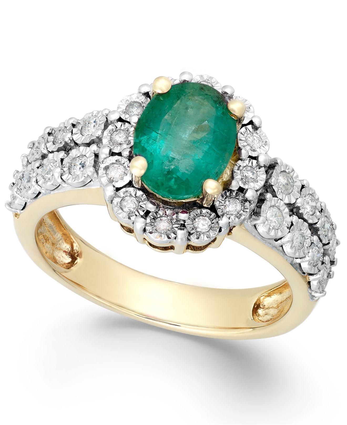 macy s emerald 3 4 ct t w and 1 4 ct t w