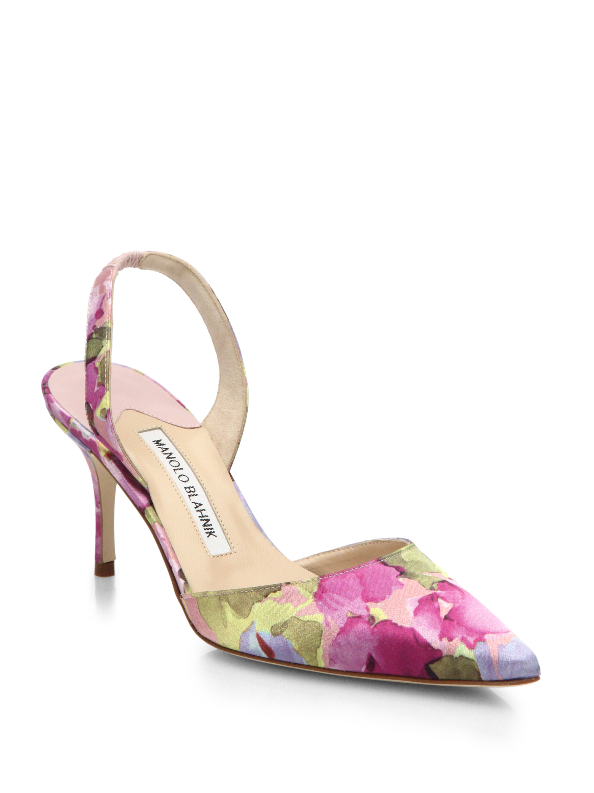 Lyst - Manolo blahnik Floral-Print Satin Slingback Pumps in Purple