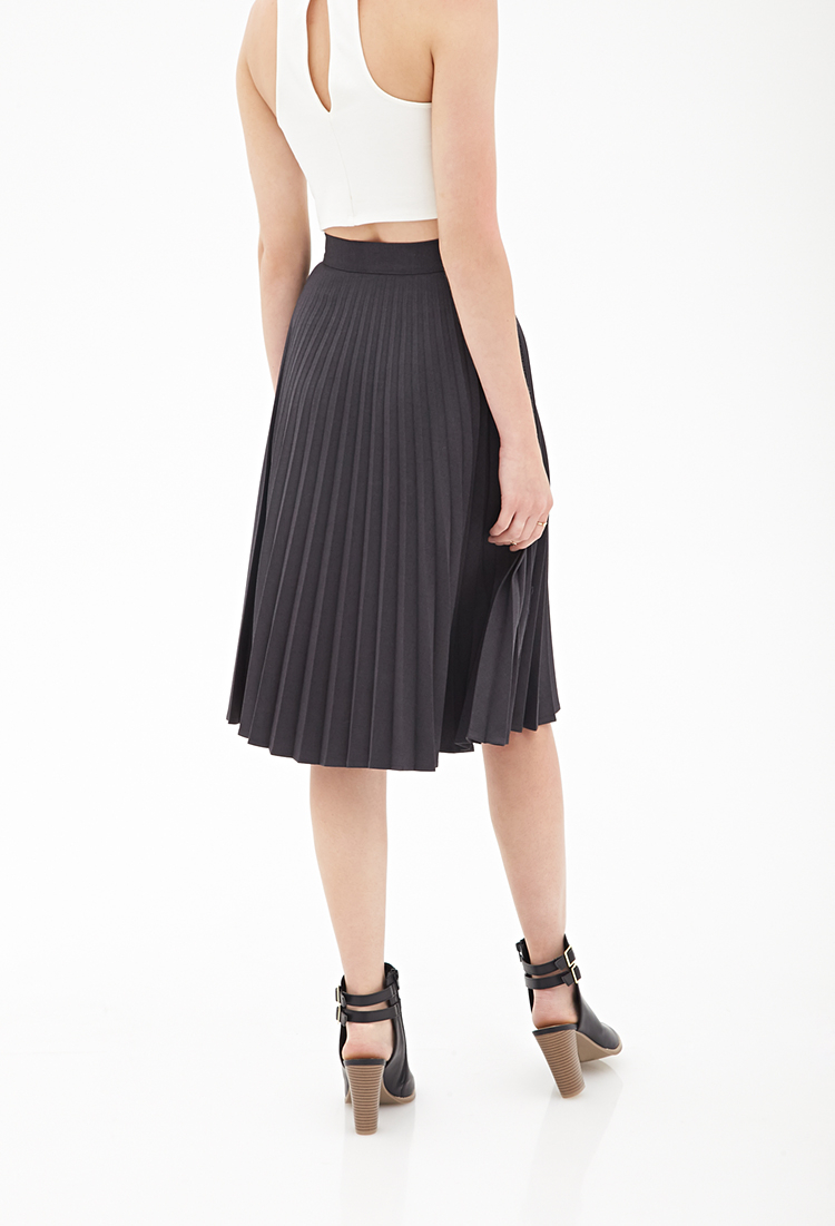 Forever 21 Accordion Pleated A-line Skirt in Gray | Lyst