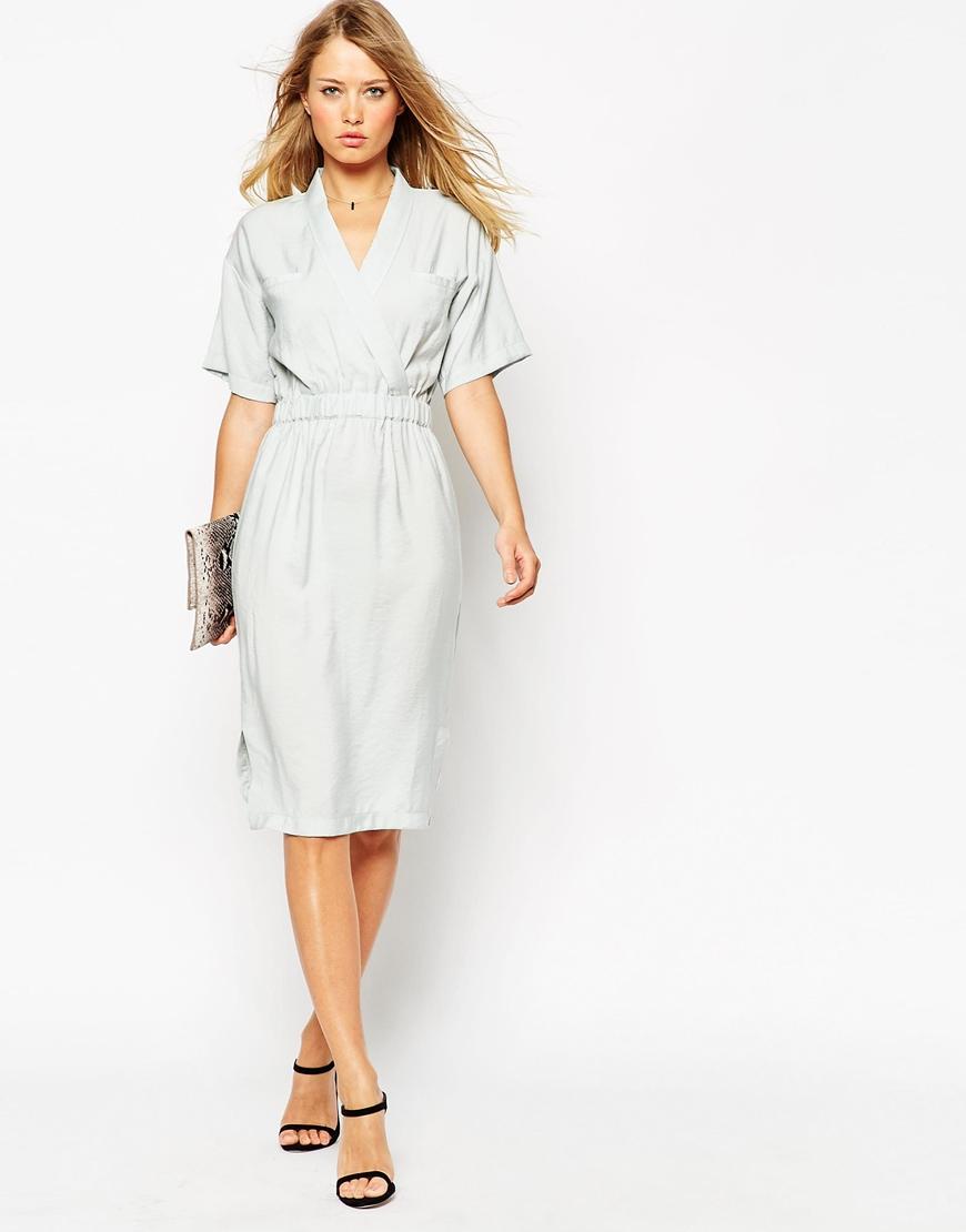 Lyst Asos Kimono Dress With Elasticated Waist In Gray