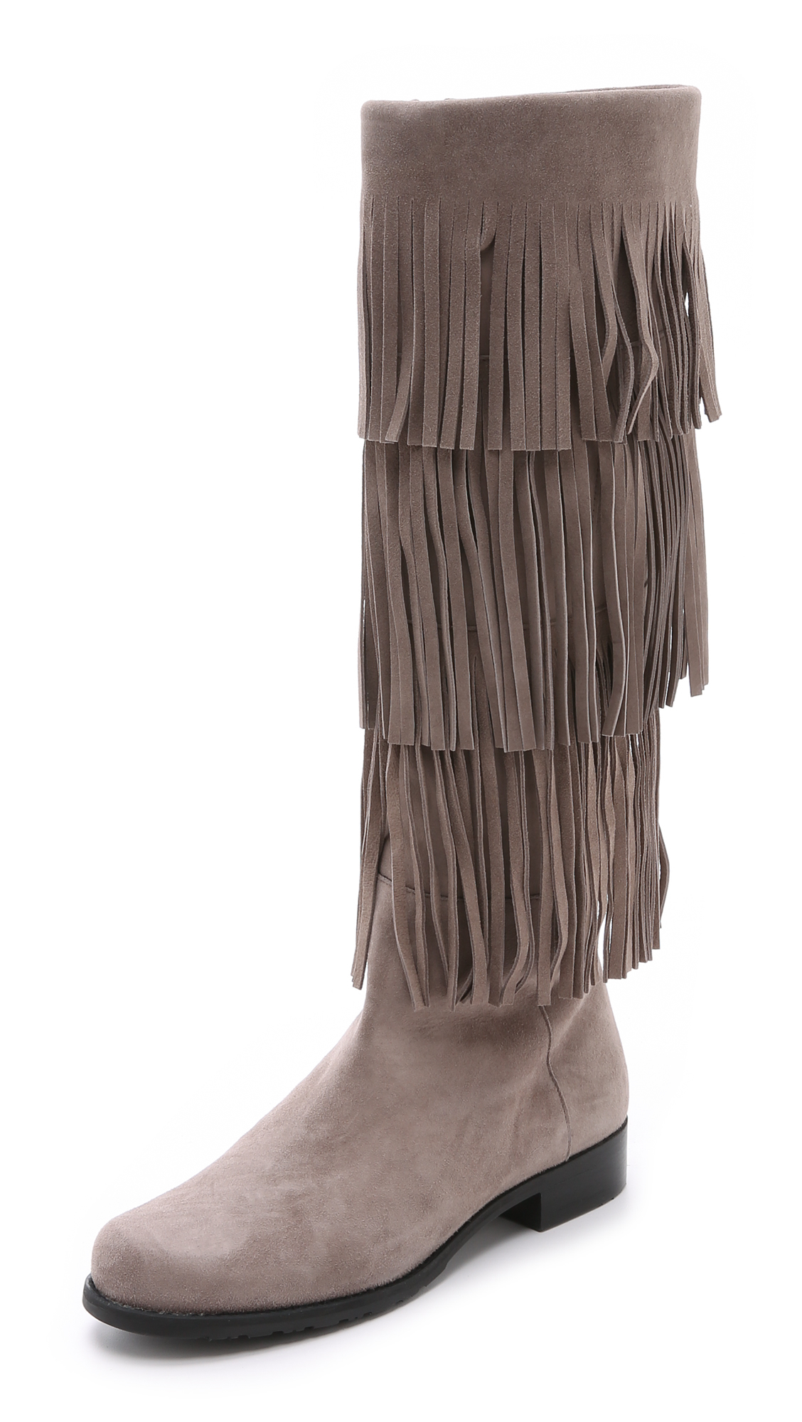 Stuart weitzman Swinglo Fringe Boots in Brown | Lyst