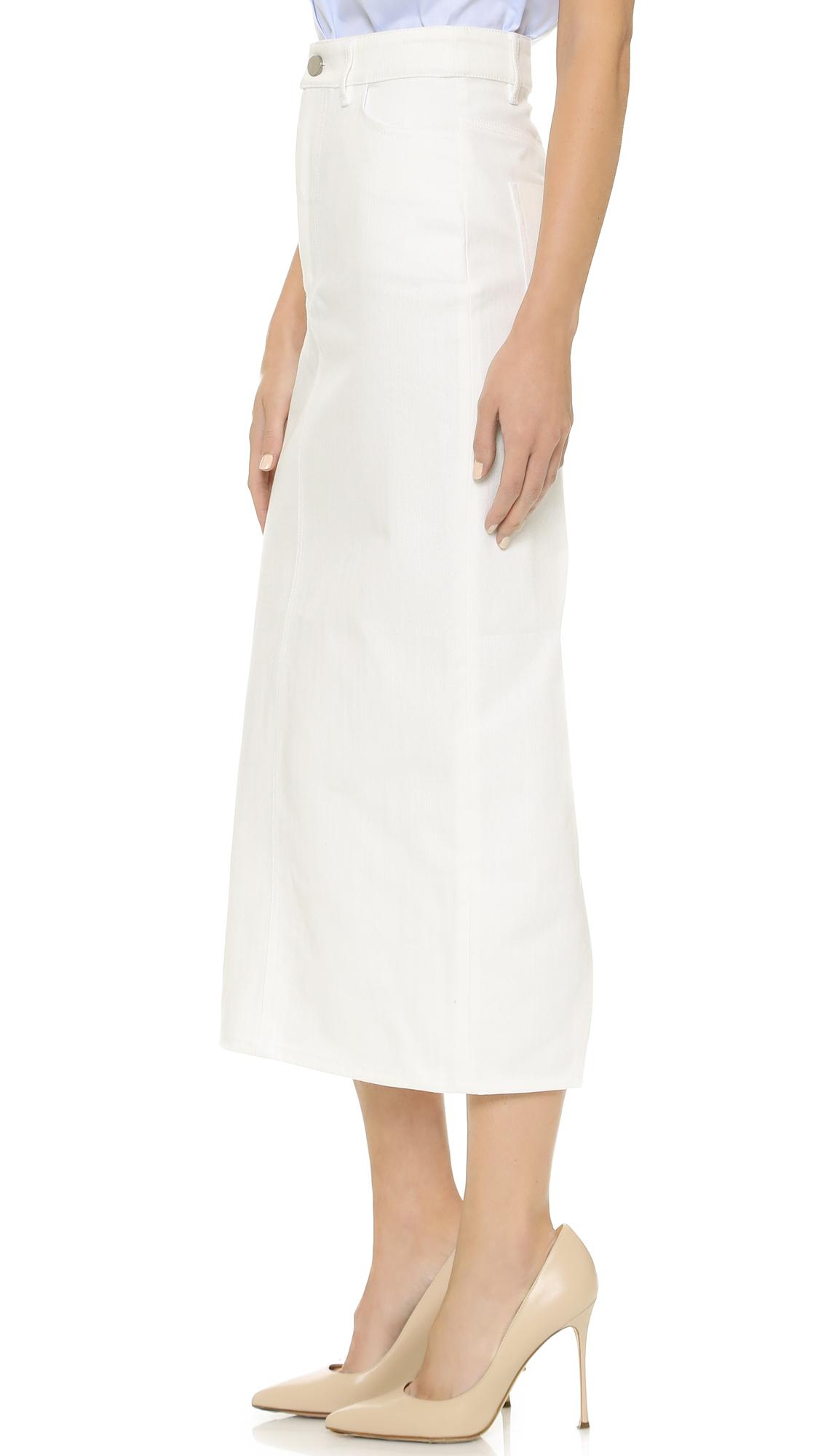 Victoria beckham Split Denim Skirt in White | Lyst