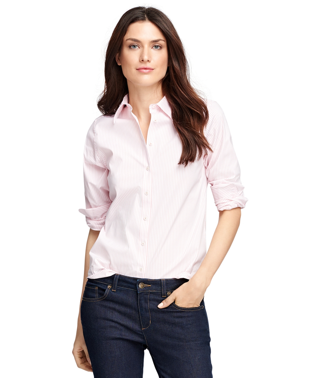 Brooks brothers classic fit cotton stripe dress shirt in for Brooks brothers dress shirt fit guide
