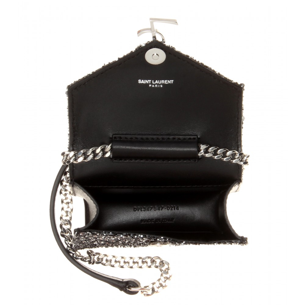 e02311cc8a3 Saint Laurent Candy Monogram Glittered Leather Shoulder Bag in Black - Lyst