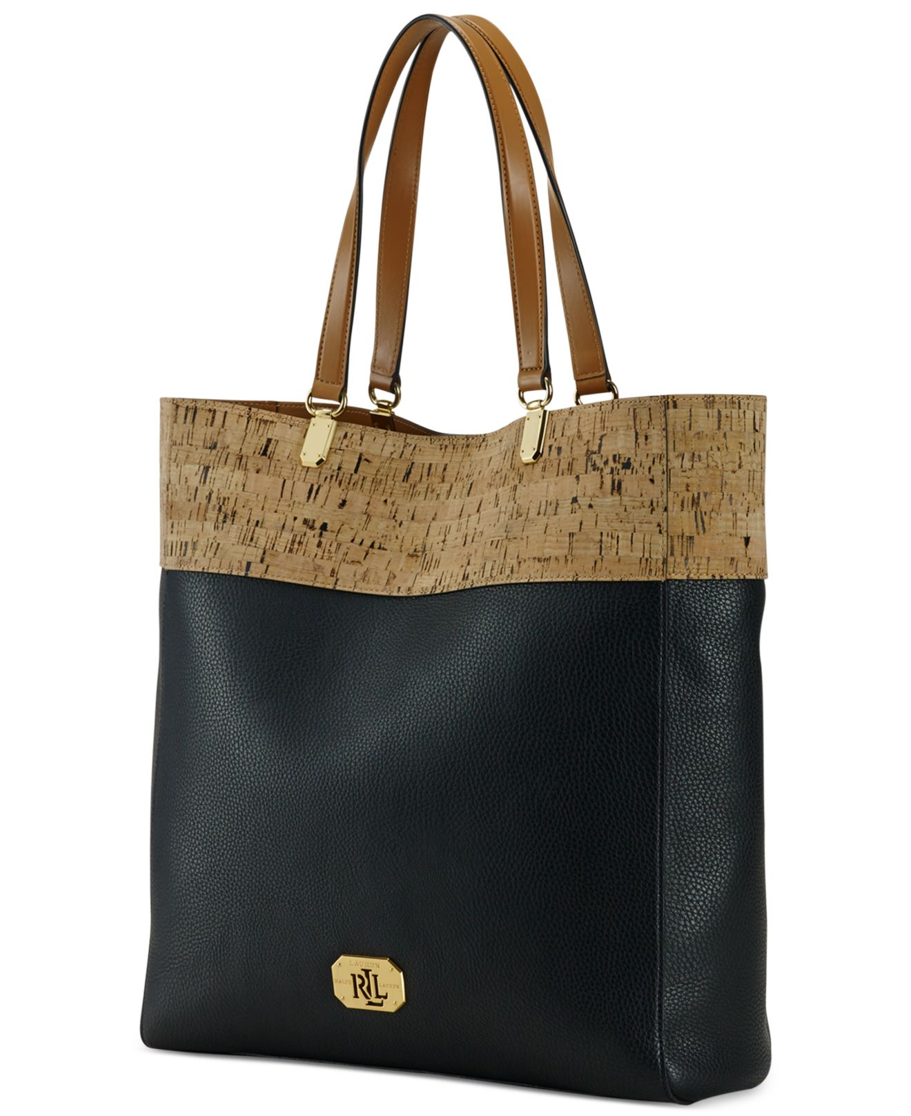 f2a2eca81d Lyst - Lauren by Ralph Lauren Hilford Cork Pattern Tote in Black