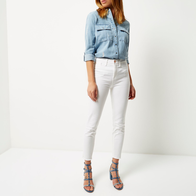 High White Jeans Lyst Lori Island Rise Skinny In River CqwFT