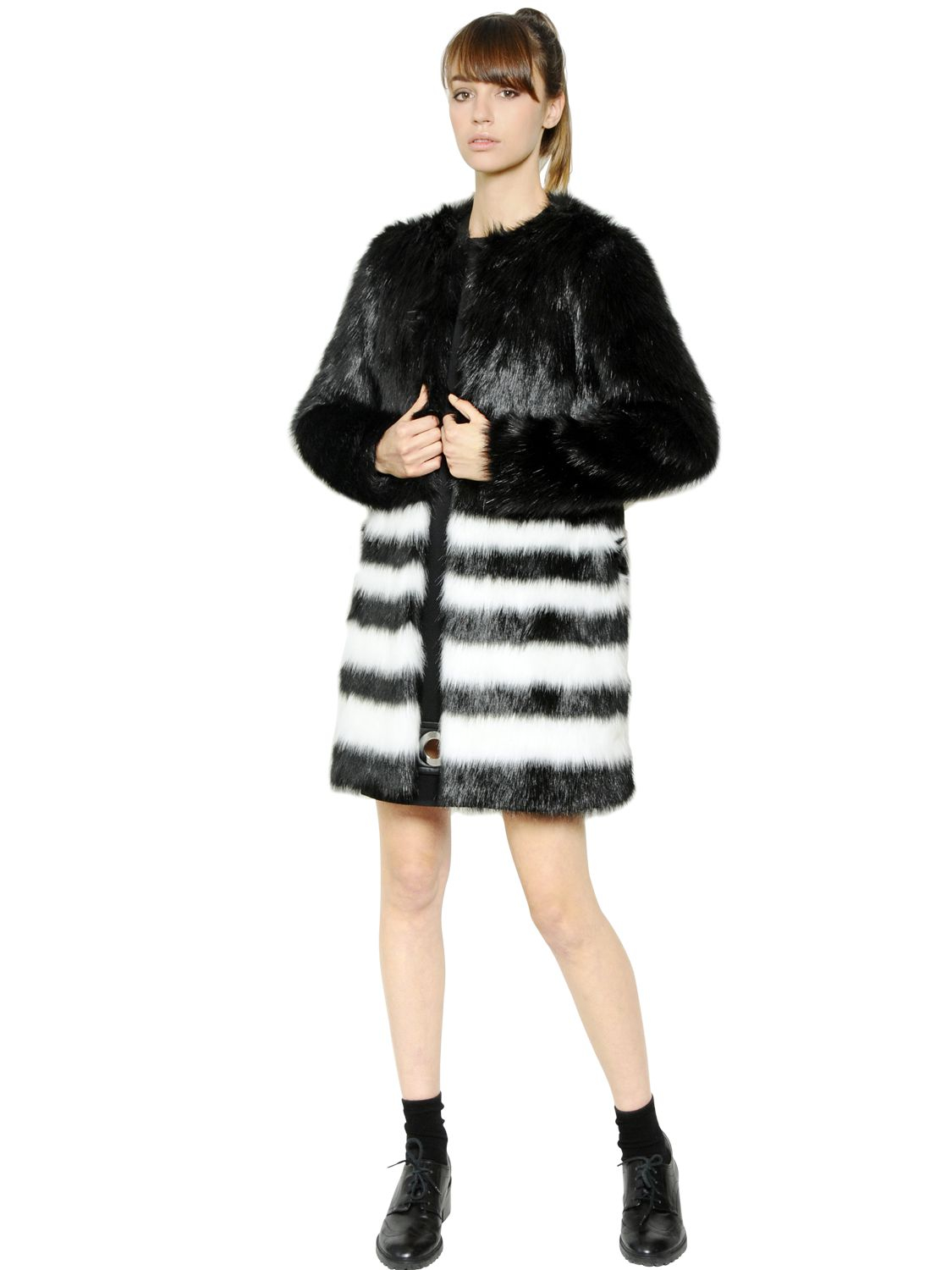 7b52c84a99 MICHAEL Michael Kors Striped Faux Fur Coat in Black - Lyst