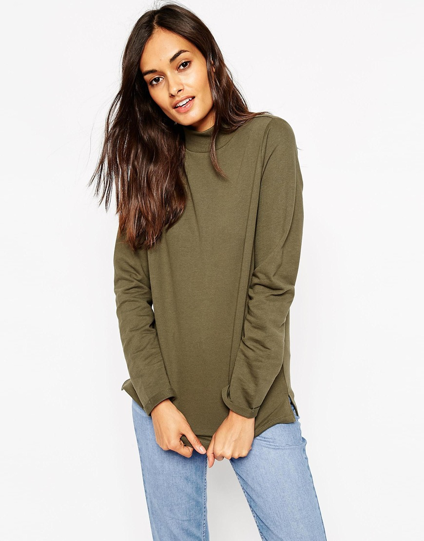 Asos Sweatshirt With High Neck in Green | Lyst
