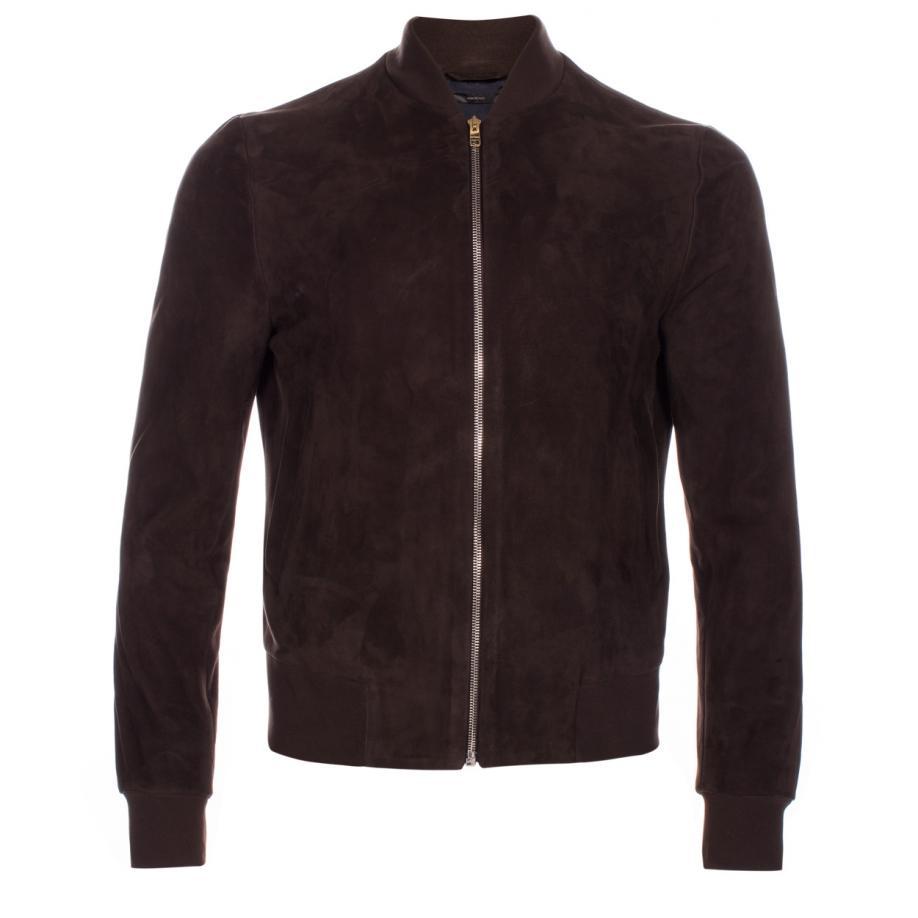 Paul Smith Men's Dark Brown Suede Bomber Jacket in Gray ...