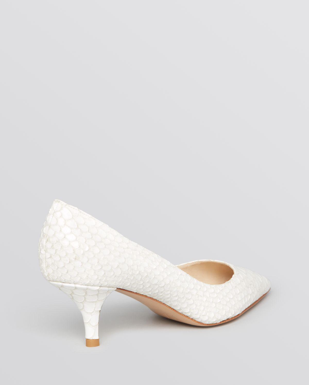 Delman Pointed Toe Pumps Belle Mid Heel in White | Lyst